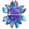 Glass Lamp Bead 27/33mm Flower Aqua/Lilac Centre/Bronze